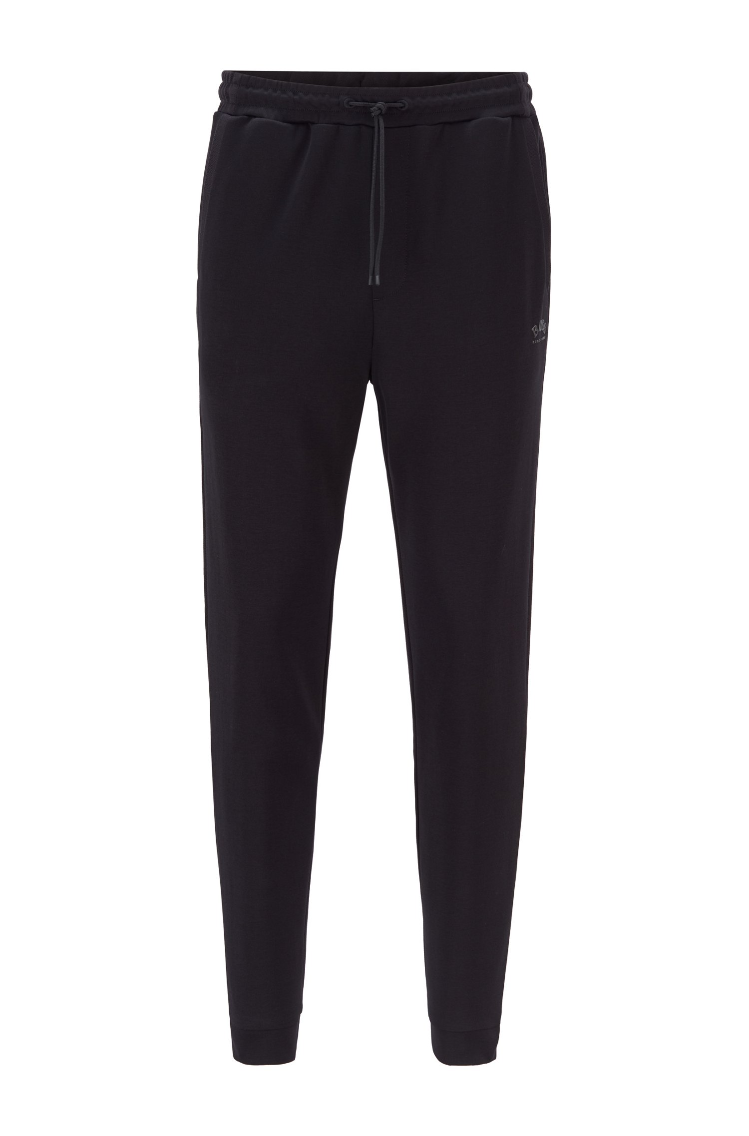 Double-faced cotton-blend tracksuit bottoms with curved logo, Black
