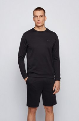 Hybrid cotton-blend sweatshirt with curved layered logo, Black