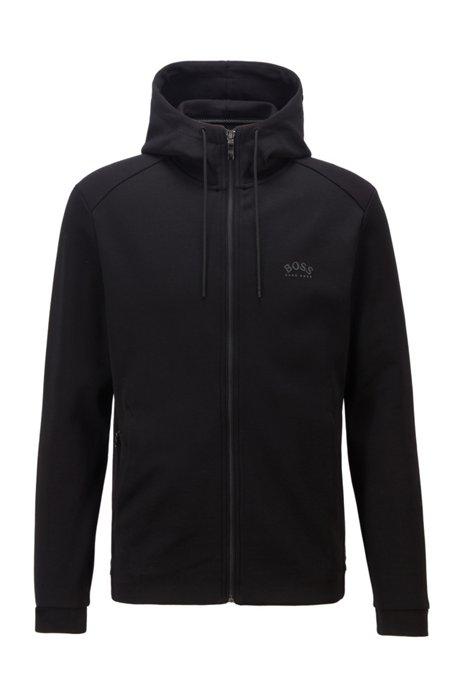 Hybrid sweatshirt in cotton-blend fabrics with curved logo, Black