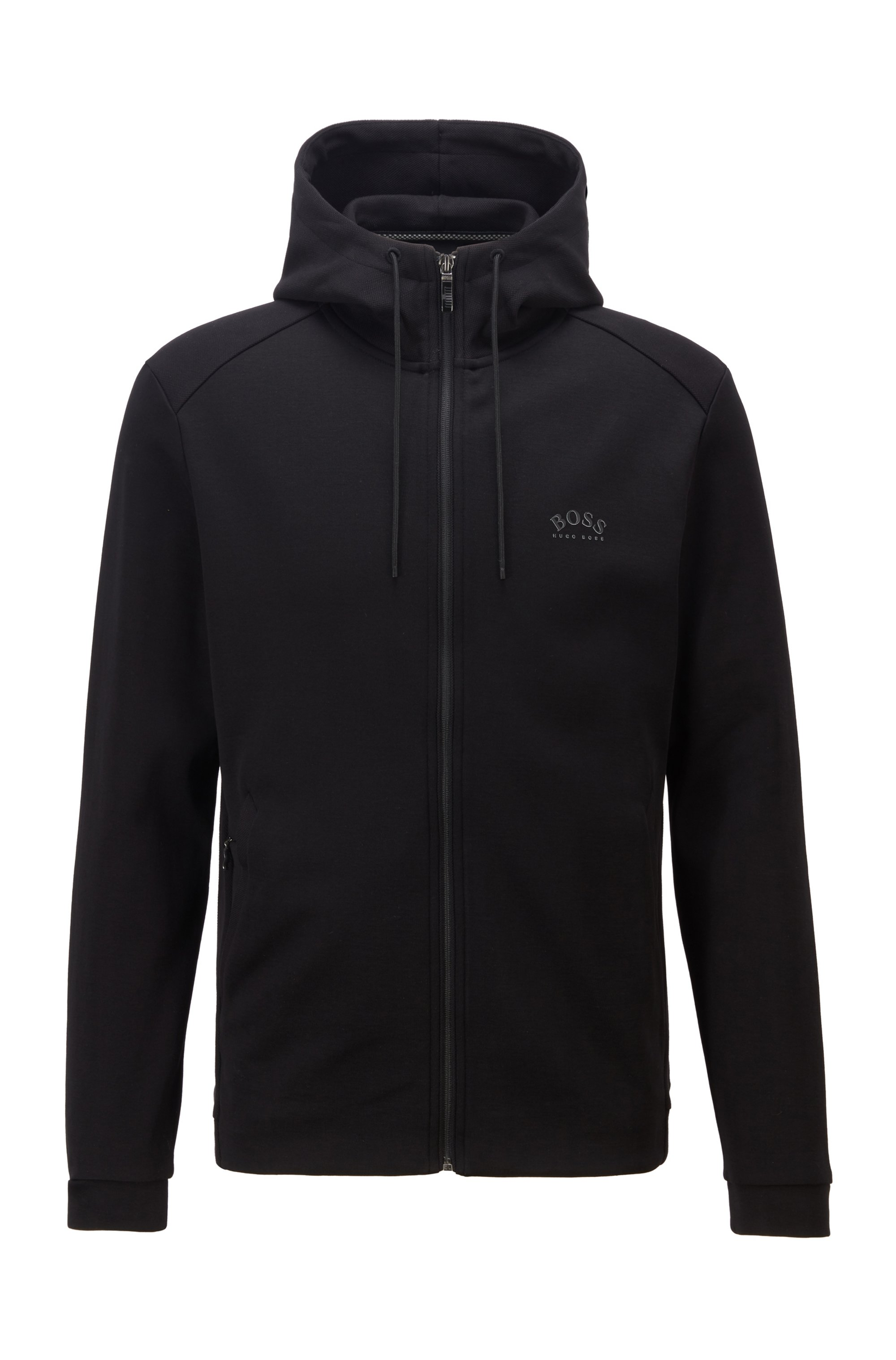 Hybrid sweatshirt in cotton-blend fabrics with curved logo, Black