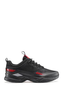 Chunky trainers with mesh uppers and leather facings, Black