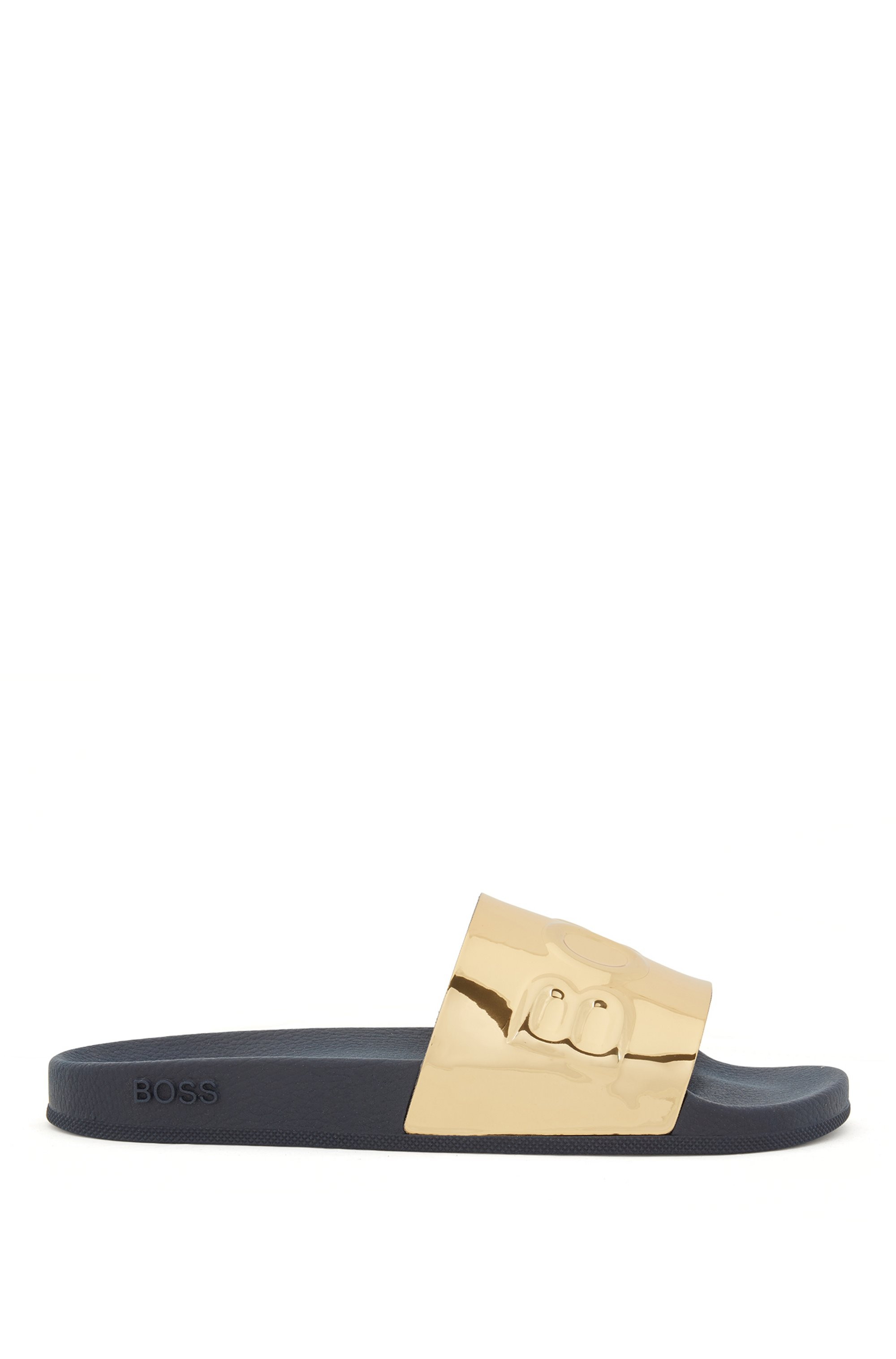 In Italië vervaardigde slippers met metallic wreefband met logo, goud