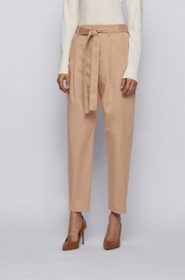 Relaxed-fit trousers in stretch cotton with paper-bag waist, Beige