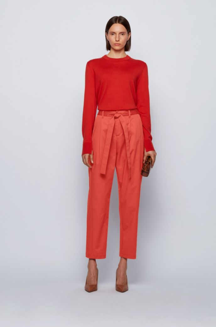 Relaxed-fit trousers in stretch cotton with paper-bag waist