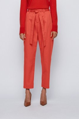 Relaxed-fit trousers in stretch cotton with paper-bag waist, Dark Orange
