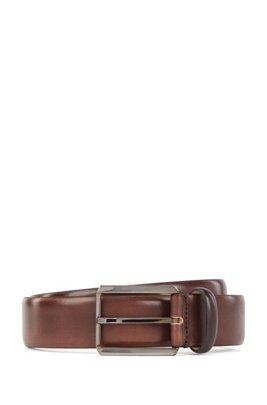 Pin-buckle belt in vegetable-tanned Italian leather, Dark Brown