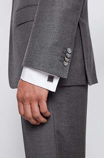 珐琅微图案固定扣件袖扣,  021_暗灰色