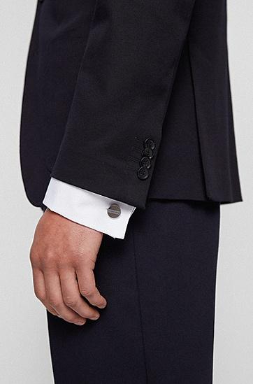徽标横条圆形袖扣,  021_暗灰色