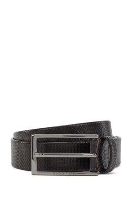 Monogram-embossed belt in vegetable-tanned leather, Dark Brown