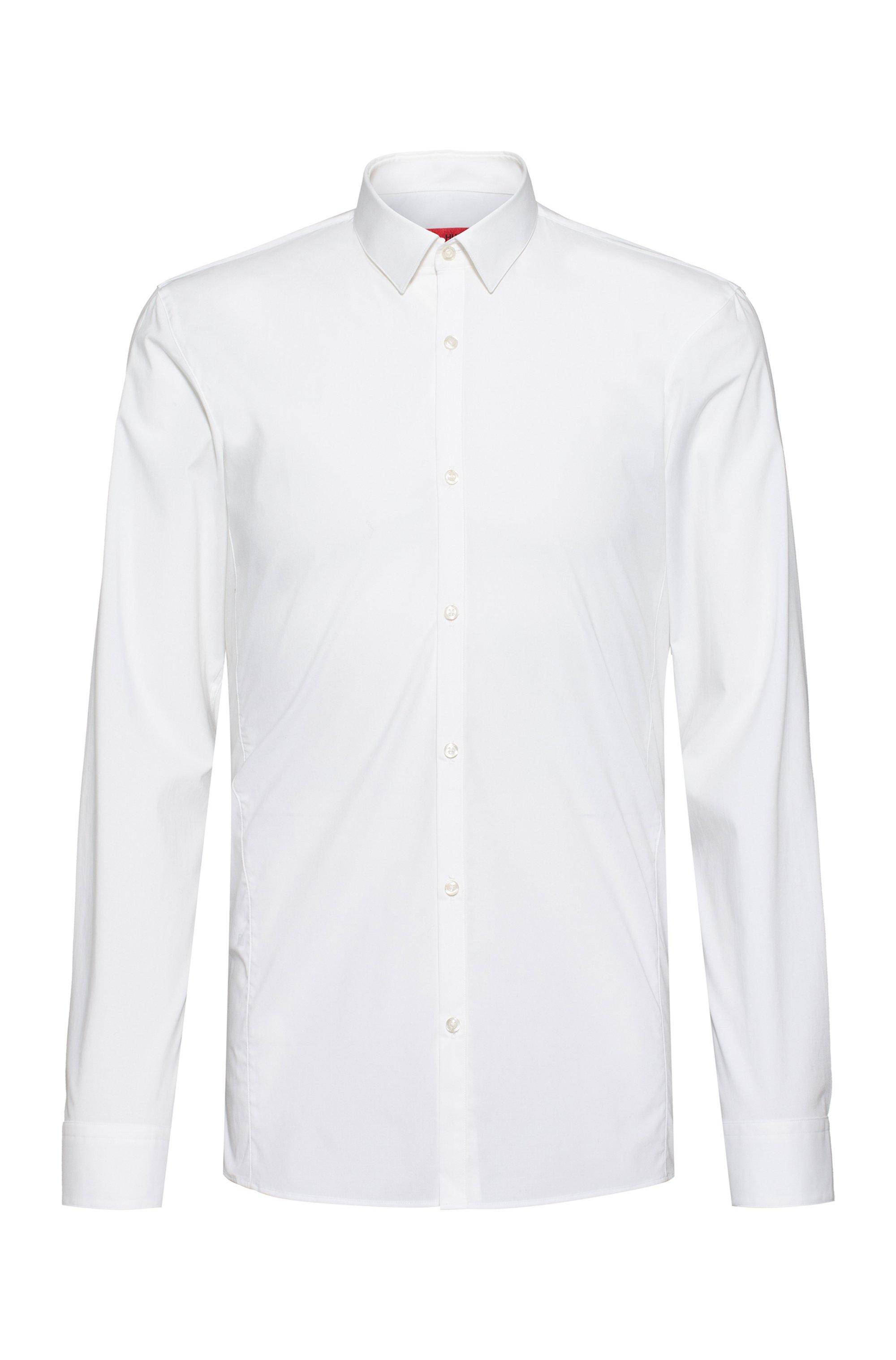 Camisa extra slim fit de lona de algodón elástico, Blanco