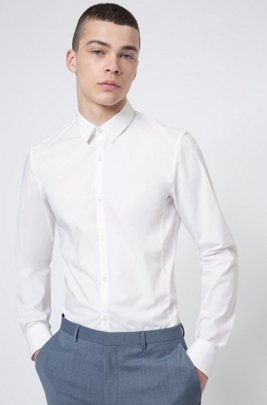 Extra-slim-fit shirt in stretch-cotton canvas, White