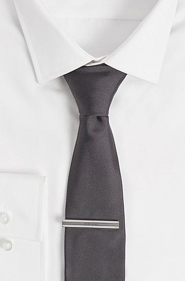 徽标横条滑扣领带夹,  021_暗灰色