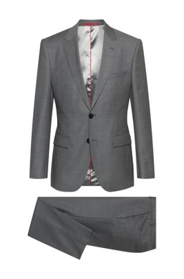 Regular-fit suit in micro-patterned virgin-wool serge, Light Grey