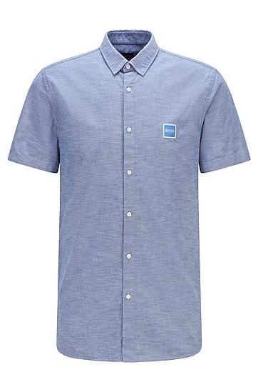 徽标贴袋装饰修身版型磨毛棉质衬衫,  428_Medium Blue