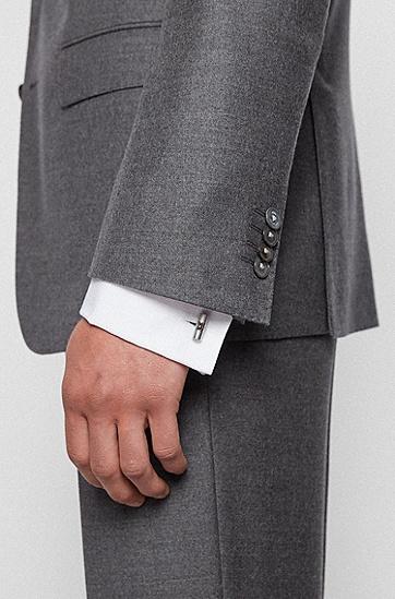 徽标内芯棒形袖扣,  040_银灰色