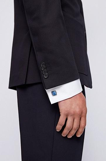 珐琅钢质图案固定扣件袖扣,  435_亮蓝色