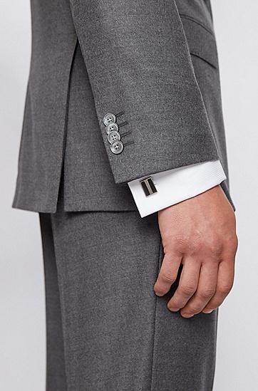 珐琅双线条矩形袖扣,  021_暗灰色