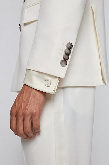 徽标和蚀刻边缘立方袖扣,  040_银灰色