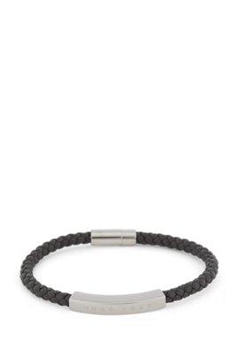 Braided-leather cuff with logo plate, Dark Grey