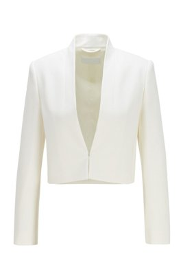 Cropped jacket in double-faced Portuguese stretch fabric, White