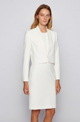 Blazer court en tissu stretch portugais double face, Blanc