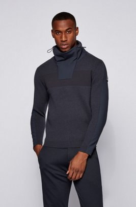 Funnel-neck sweater in a virgin-wool blend, Dark Blue