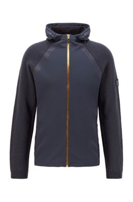 Vest met capuchon van een gemêleerde scheerwolmix, Donkerblauw