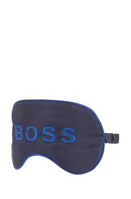 Eye mask with embroidered logo and travel pouch, Dark Blue