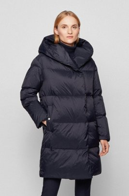 Relaxed-fit long-length down jacket with hood, Dark Blue
