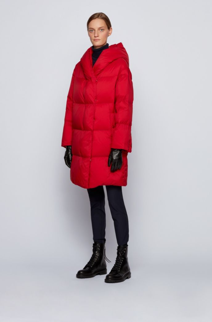 Relaxed-fit long-length down jacket with hood