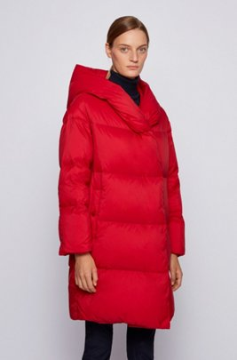 Relaxed-fit long-length down jacket with hood, Red