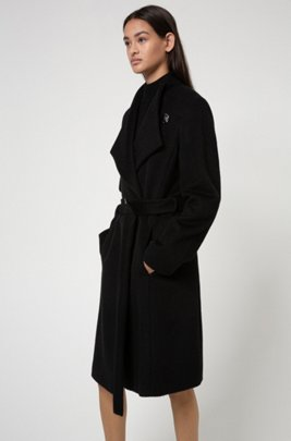 Belted coat with alpaca and virgin wool, Black