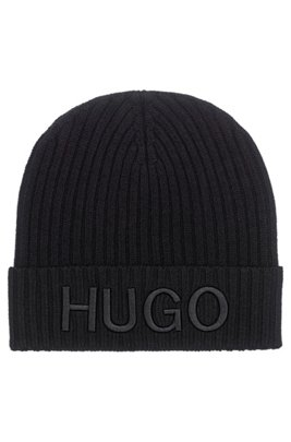 Unisex wool beanie hat with embroidered logo, Black