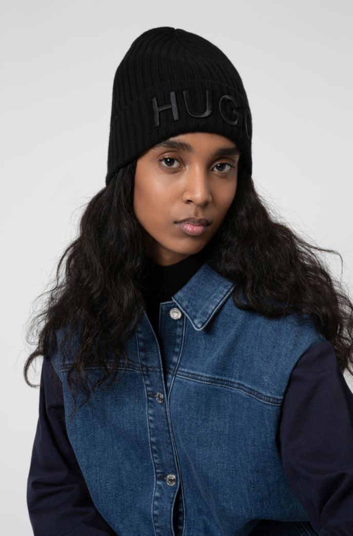 Unisex wool beanie hat with embroidered logo