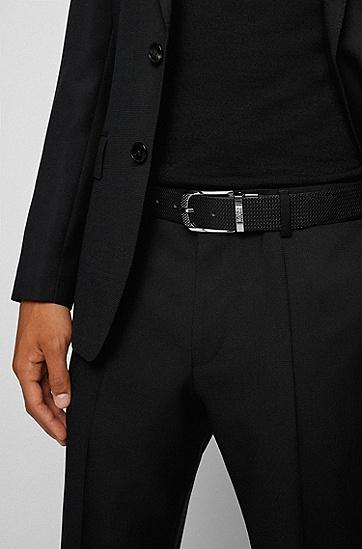 搭配抛光硬件的意大利皮革双面腰带,  002_Black