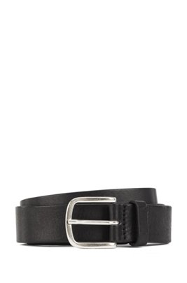 Pin-buckle belt in tanned Italian leather, Black