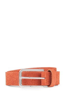Suede belt with embossed monograms, Brown