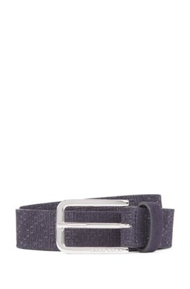 Suede belt with embossed monograms, Dark Blue