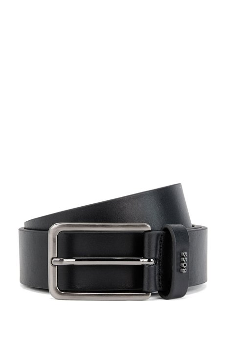 Pin-buckle belt in smooth leather with logo lettering, Black