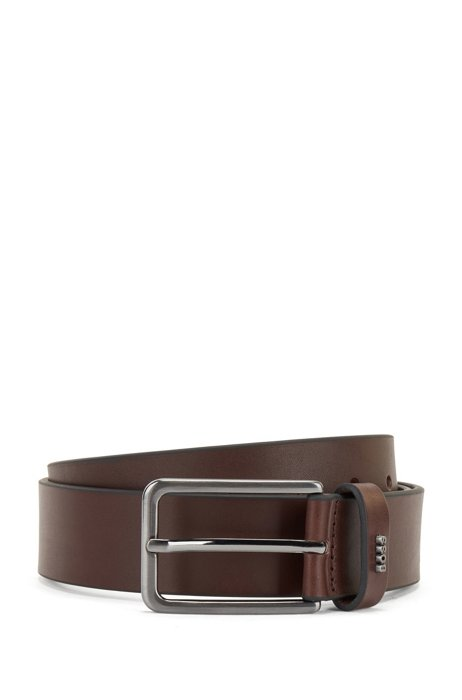 Pin-buckle belt in smooth leather with logo lettering, Dark Brown