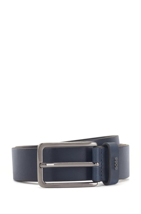 Pin-buckle belt in smooth leather with logo lettering, Dark Blue