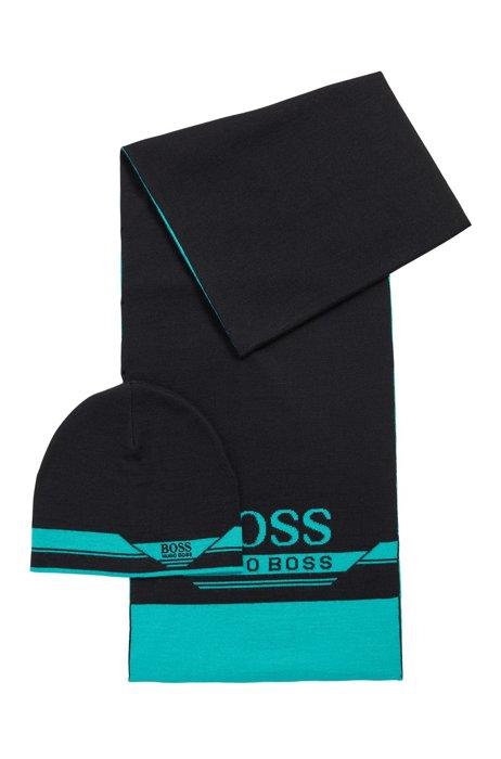 Set con berretto e sciarpa in confezione regalo, Nero