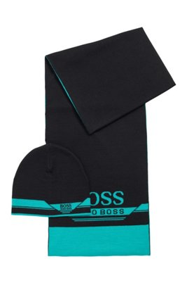 Gift-boxed scarf and beanie hat set, Black