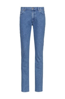 Straight-fit jeans in stretch denim with logo-tape turn-ups, Blue