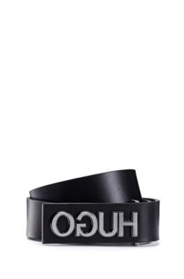 Smooth-leather belt with gunmetal-effect reversed logo, Black