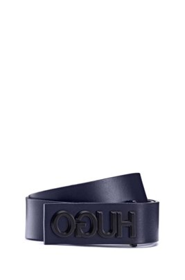 Smooth-leather belt with gunmetal-effect reversed logo, Dark Blue