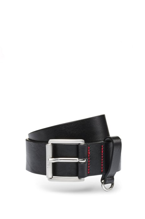 Italian-leather belt with D-ring trim, Black