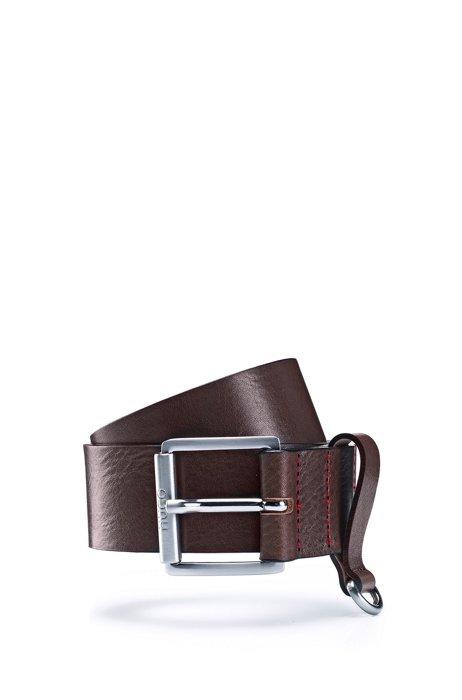 Cinturón de piel italiana con anilla semicircular, Marrón