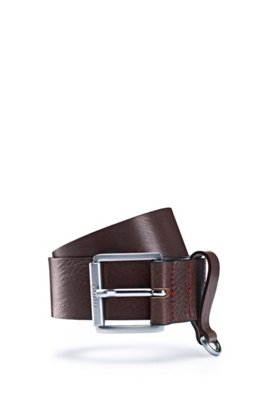 Italian-leather belt with D-ring trim, Brown