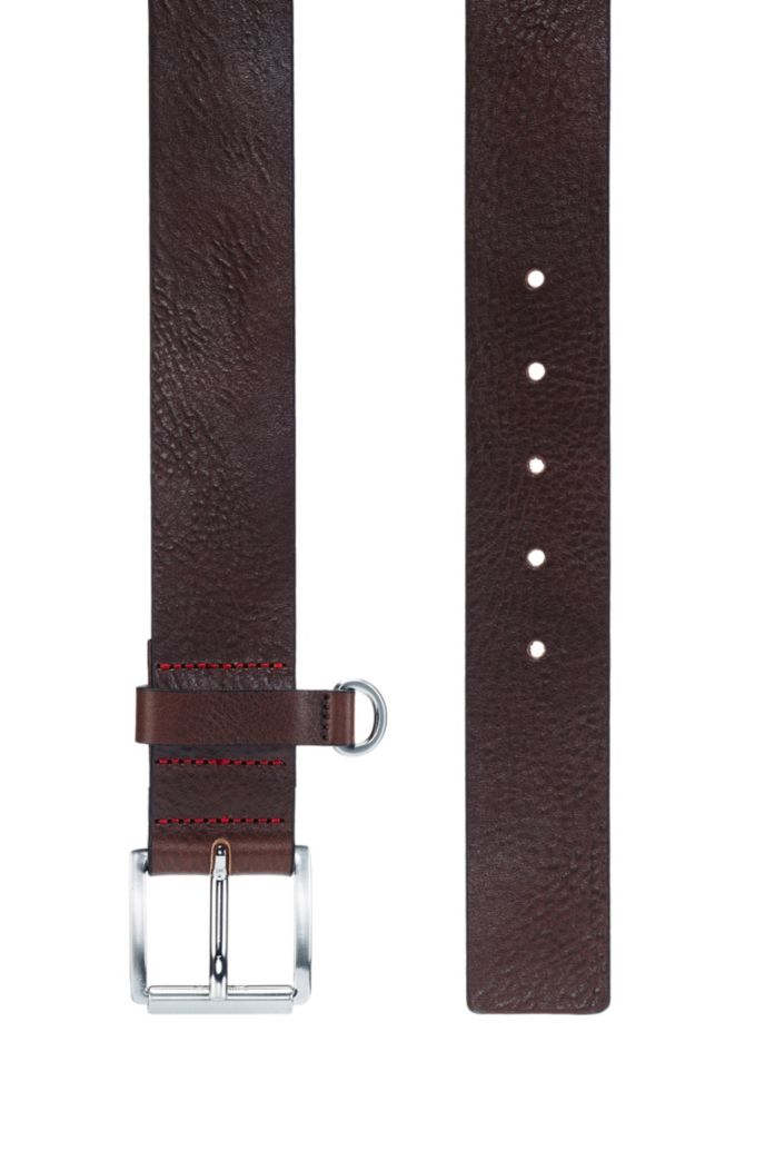Italian-leather belt with D-ring trim